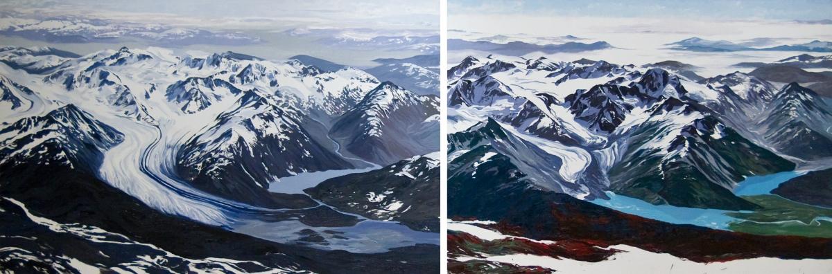 Diane Burko Locks Gallery Twenty Mile Glacier #1 and #2