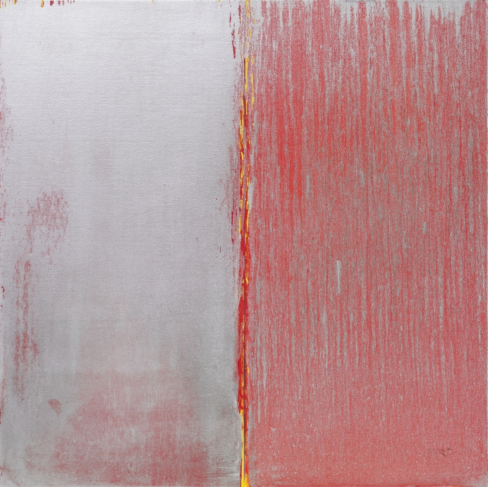 Pat Steir Red and Silver