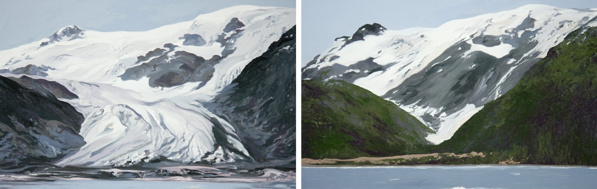 Diane Burko Locks Gallery Politics of Snow Toboggan Glacier #1 and #2