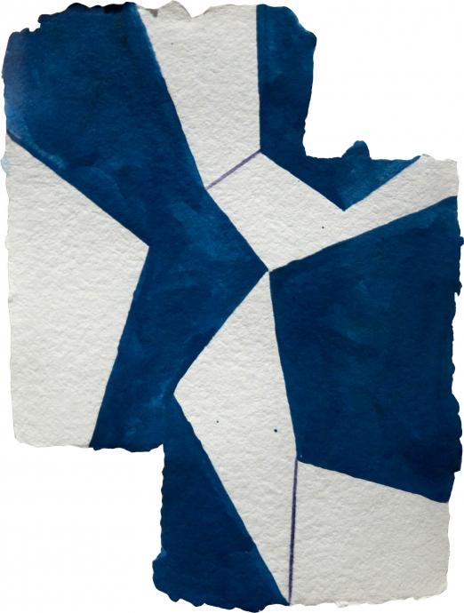 Mary Heilmann Blue Cracky Locks Gallery Drawing