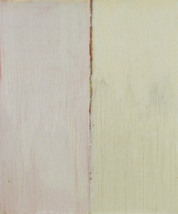 Pat Steir Locks Gallery White Over Green, Red and Gold