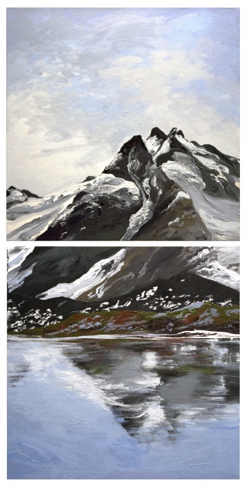 Diane Burko Politics of Snow Locks Gallery Disappearing Series 1A, 1B