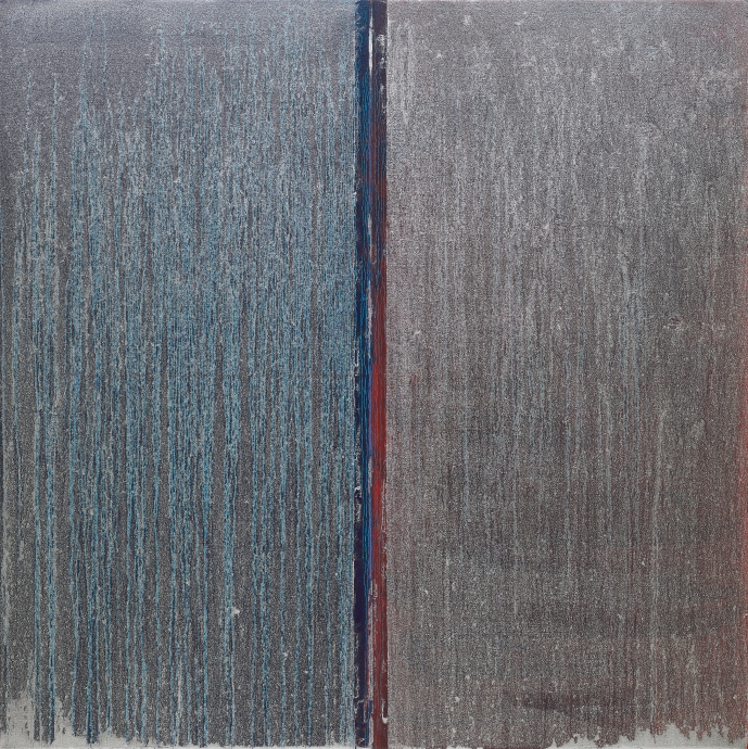 Pat Steir Blue and Red with Silver Over