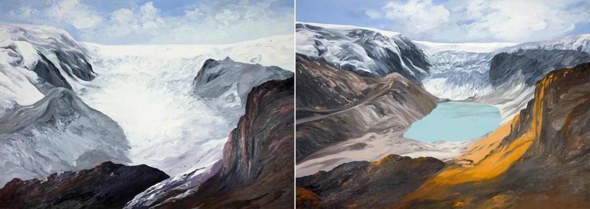 Diane Burko Locks Gallery Politics of Snow Qori Kalis Glacier Peru