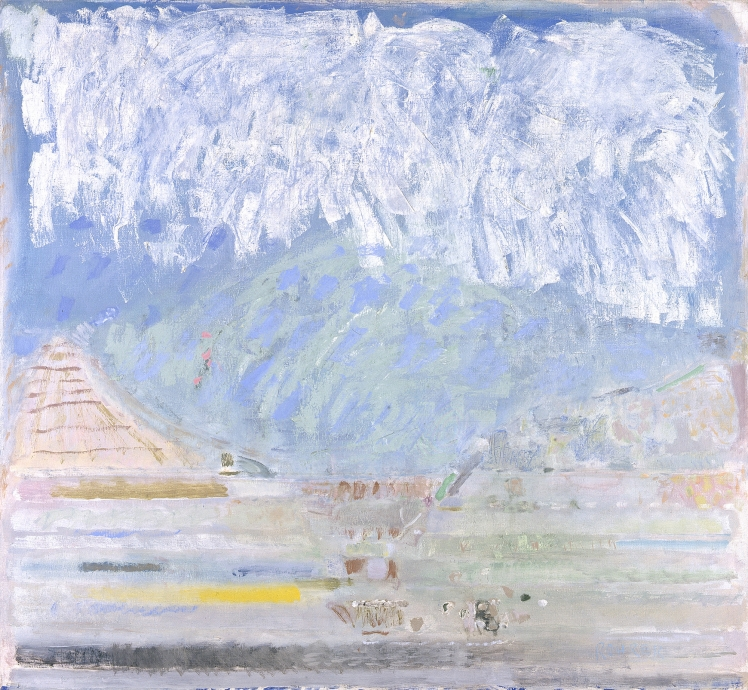 Warren Rohrer locks gallery painting landscape with white clouds