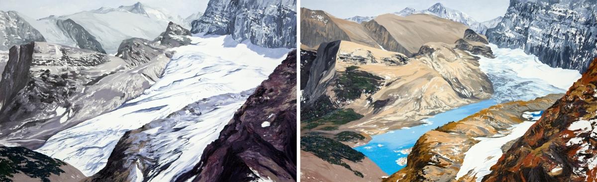 Diane Burko Locks Gallery Politics of Snow Grinnel Glacier Overlook