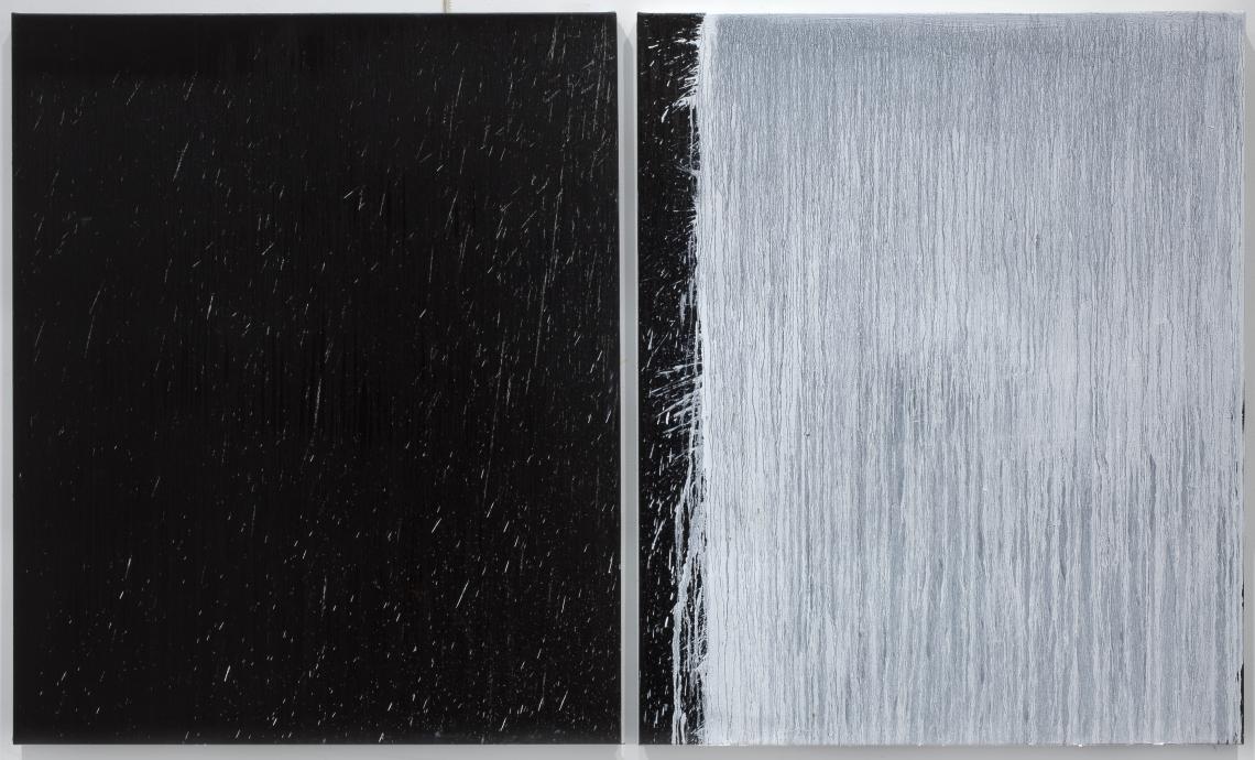 Pat Steir Locks Gallery White and Black Diptych with White Splash