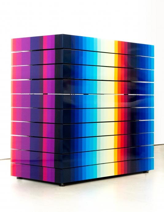 Chromadynamica Multistable 2, 2020, UV paint on aluminum composite panel, 110 x 120 x 60 cm.