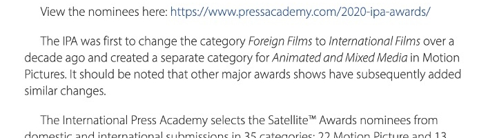 25th Satellite Awards Nominees for Motion Pictures and Television Announced