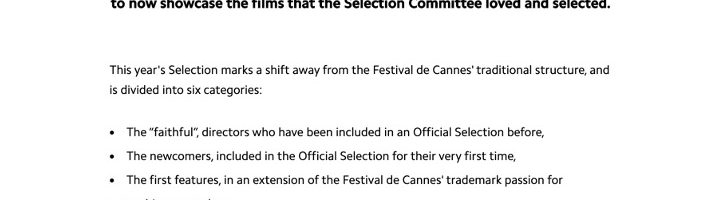 Further Insight Into The 2020 Official Selection