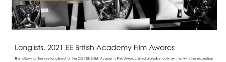 Longlists, 2021 EE British Academy Film Awards