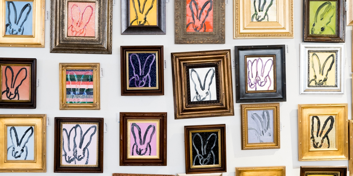 Hunt Slonem Bunny wall unveiling in Miami, Fl with Hunt Slonem Bunnies for sale.