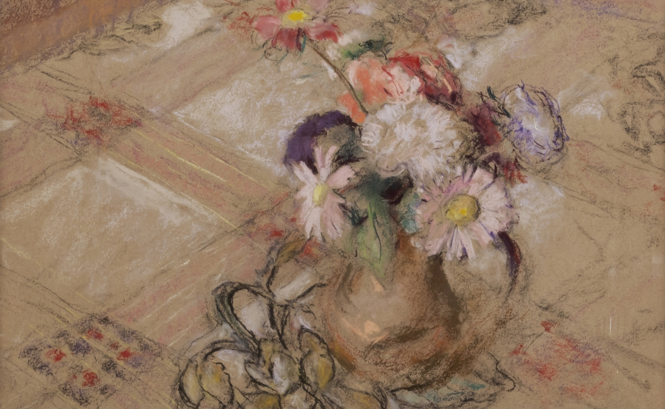 Edouard Vuillard, Zinnias on the Table at Vaucresson, 1921-23 Pastel on paper mounted to board 19 5/8 x 20 1/8 inches