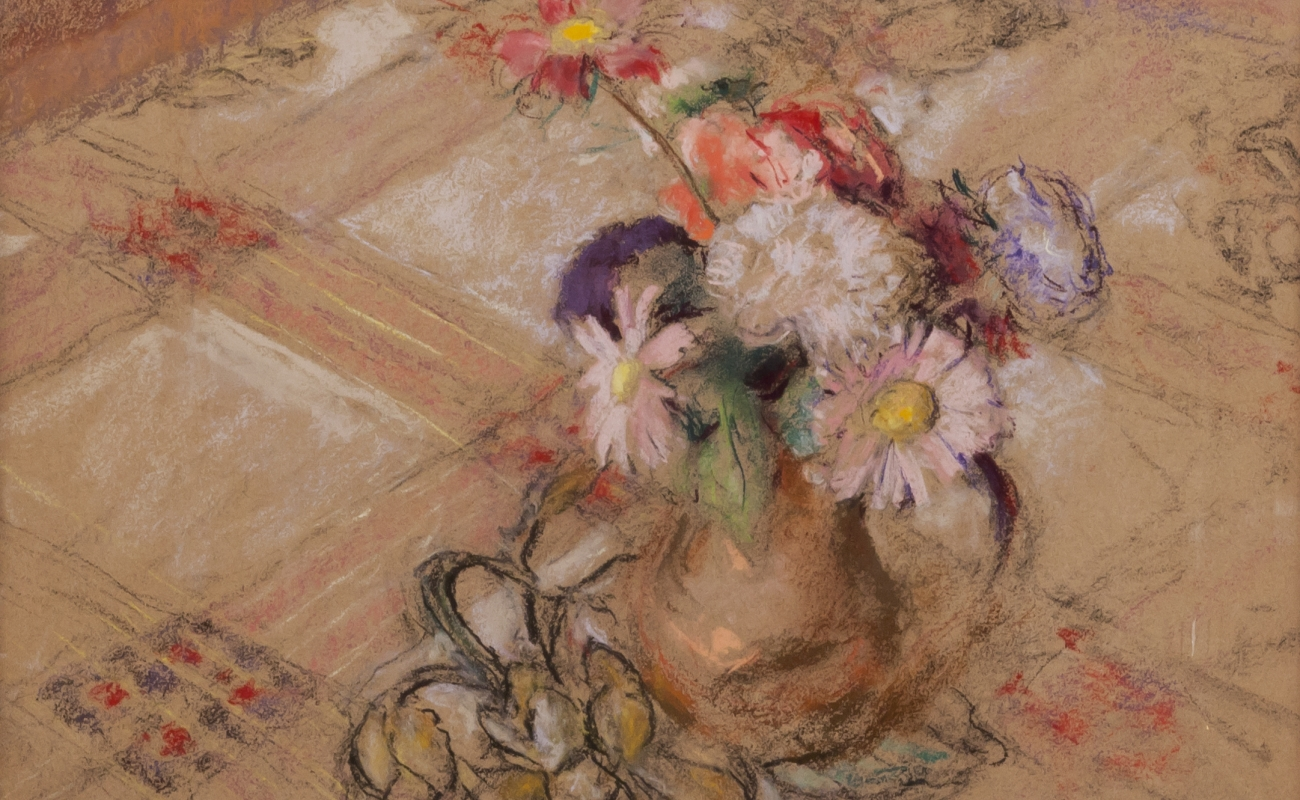 Edward Vuillard,  Zinnias on the Table at Vaucresson. c. 1921-23 Pastel on paper mounted to board 19 5/8 x 20 1/8 inches