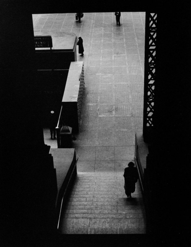 Larry Silver - Lower Level Staircase, Penn Station, New York, 1951 Gelatin silver print, printed later | Bruce Silverstein Gallery
