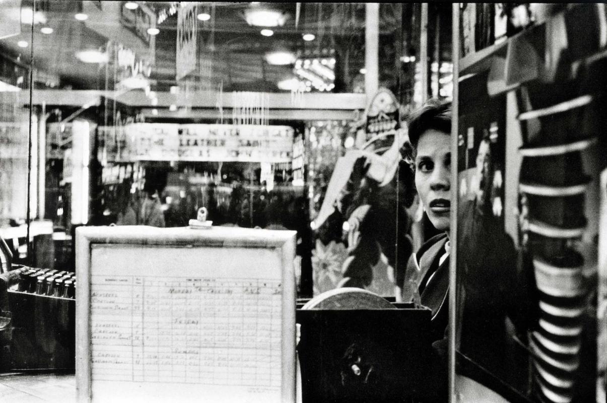 Frank Paulin - Movie Ticketseller, Times Square, 1957 Gelatin silver print | Bruce Silverstein Gallery
