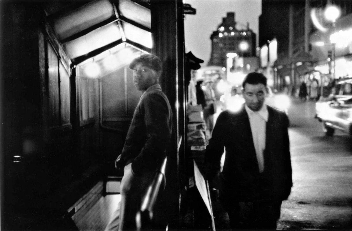 Frank Paulin - Black Man, White Man, Times Square, 1956 Gelatin silver print | Bruce Silverstein Gallery