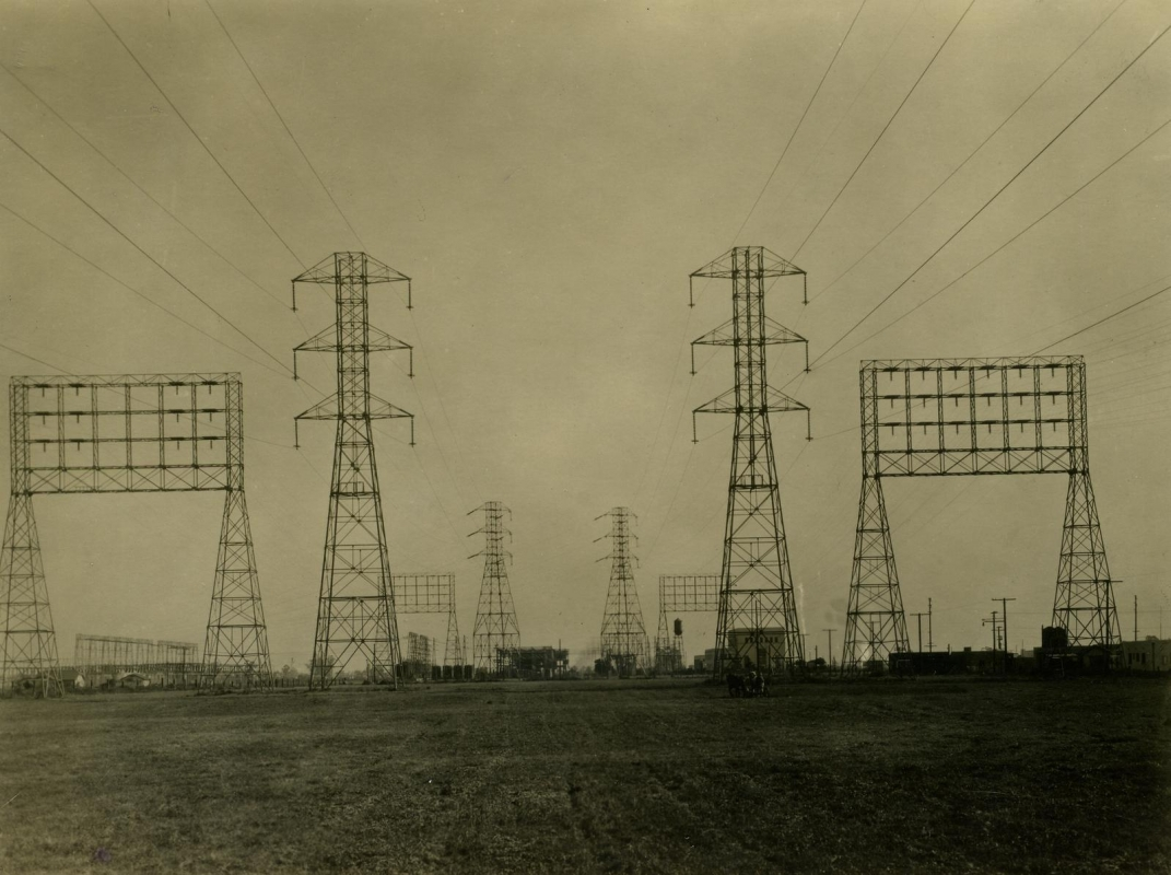 E. O. Hoppé - Edison Wireless, Electrical Pylons, Los Angeles, CA, 1926  | Bruce Silverstein Gallery