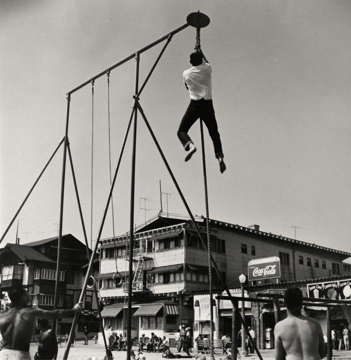 Larry Silver - Shinning, Muscle Beach, Santa Monica, CA, 1954 Gelatin silver print, printed 1985 | Bruce Silverstein Gallery