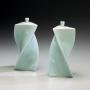 Yagi Akira, Japanese celadon porcelain, Japanese seiji, Japanese glazed porcelain, 2011, Japanese twisted triangular forms