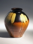 Kawai, Kanjiro, Kawai Kanjiro, tetsuyu, iron, glazed, stoneware, ceramic, Japanese, modern, antique, ceramics, 1930, yellow, drips, brown, orange, iron-glazed
