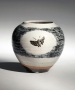 "Ishiguro Munemaro, black dot patterning vessel, ""dream"" kanji, ca. 1950, glazed stoneware, Japanese ceramics, Japanese pottery, Japanese vase, Japanese contemporary ceramics, Japanese modern ceramics, living national treasure, Japanese living national treasure"