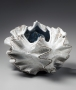 Koike, Shoko, Koike Shoko, white, shell, sculpture, contemporary, clay, Japanese, ceramics, pottery, flaring, edges, glaze, lid, stoneware, white, silver, 2014