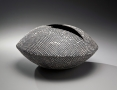 Imai, Hyoe, Imai Hyoe, ovoid, horizontal, vessel, zig-zag, mouth, white, dot, glaze, black, glazed, stoneware, 2008, contemporary, Japanese, ceramics, contemporary Japanese ceramics, pottery, for sale, art, nyc, gallery, mirviss, Japan