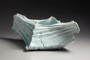 Kato, Tsubusa, Kato Tsubusa, ribbed, softly, walled, diamond, sculpture, torn, edges, cracked, dripping, seihakuji, blue, white, glaze, tiered, 2014, glazed, porcelain, contemporary, ceramics, Japanese, Japan, Japanese ceramics, clay