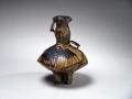 Kakurezaki, Ryuichi, Kakurezaki Ryuichi, bizen, stoneware, ash glaze, dancing, vase, contemporary, Japanese, ceramics, figure, sculpture, 2004