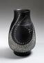 Kondo, Yutaka, Kondo Yutaka, Japanese, ceramics, Japanese ceramics, clay, pottery, columnar, shouldered, black, glaze, vase, stamped, roulette, patterning, white, slip, inlay, design, 1981