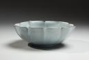 Kawase, Shinobu, Kawase Shinobu, celadon, seiji, blue, green, five, petal, flower, crackled, celadon, bowl, pinched, rim, porcelain, stoneware, glazed, 1998