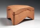 Bizen sculptural triangular box, ca. 1970, Japanese contemporary ceramics, modern, sculpture