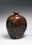 Hamada Shoji, flask vase, ameyu, iron-glazed stoneware, ca. 1950, Japanese ceramics, Japanese pottery, Japanese flask, Japanese iron glaze, Japanese modern ceramics