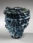 Hoshino Satoru, blue and white-glazed pinched vase, 2014, glazed stoneware, copper-blue and white-glazed, Japanese ceramics, Japanese pottery, Japanese vase, Japanese sculpture, Japanese contemporary ceramics