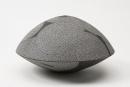 Kitamura, Junko, Kitamura Junko, contemporary, Japanese, ceramics, dots, concentric, design, textile, black, brown, white, stoneware, slip, glaze, inlay, round, vessel, objet, 2015
