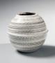 Yagi Akira, Japanese stoneware, Japanese ceramic vessel with black and white slip glazes, ca. 1980, homage to Yagi Kazuo