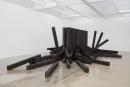 Untitled Noboru Takayama railroad tie installation at Kayne Griffin Corcoran, Los Angeles