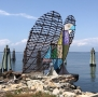 """Antone Könst, """"Love Dove"""", 2020, steel, copper, foam, concrete, hardware with paint, installed on Fishers Island, NY, Lighthouse Works, Public Art Commission."""