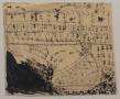 """Nicole Eisenman """"Battlefield"""", 1995-2011  Black ink and stamp on paper  18-3/4 x 23 inches"""