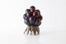 HANS HEDBERG (Swedish, 1917- 2007), Stoneware Blackberries on Bronze Stand, Biot, France, ca. 1970