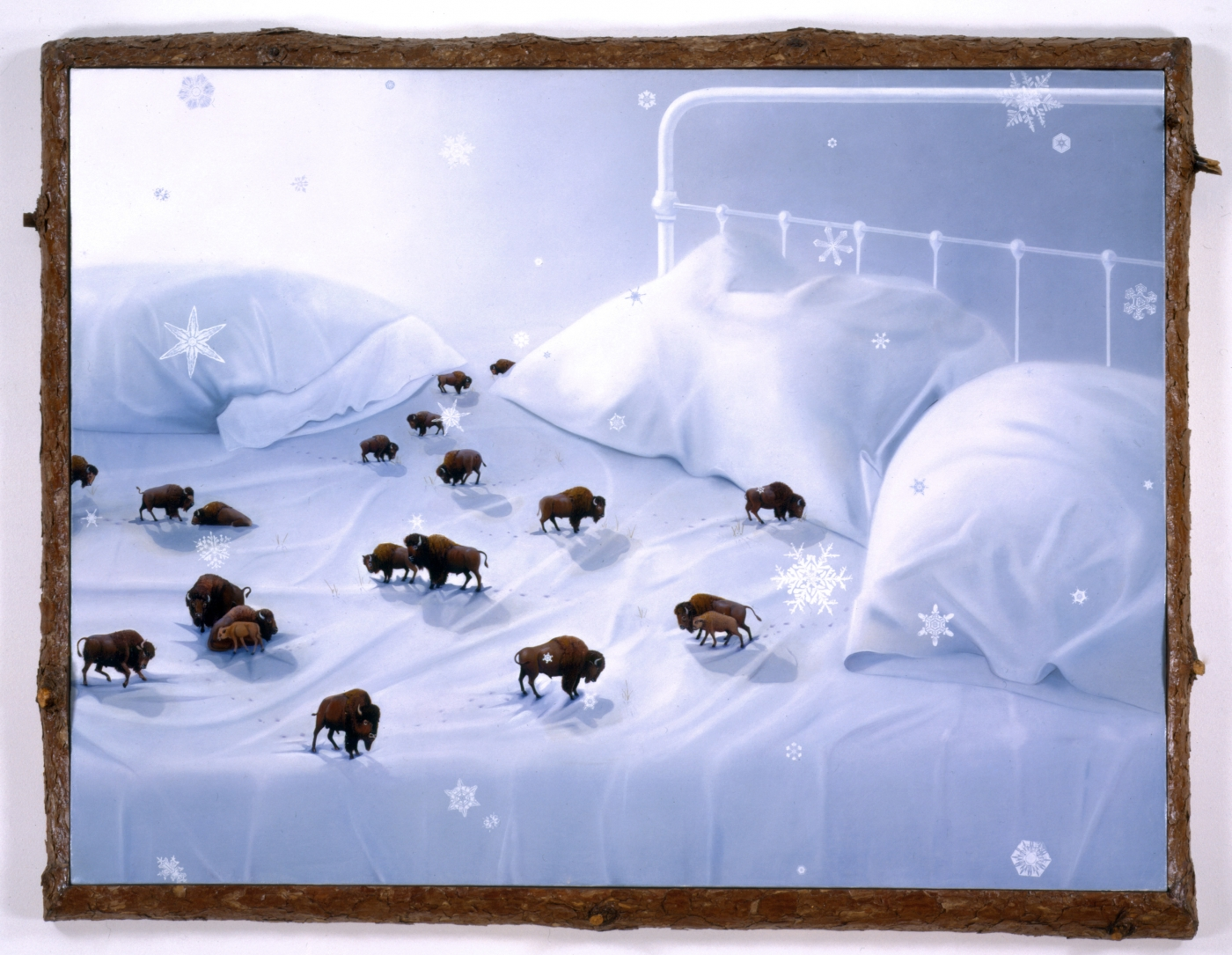 painting of an unmade bed with a herd of miniature buffalo roaming