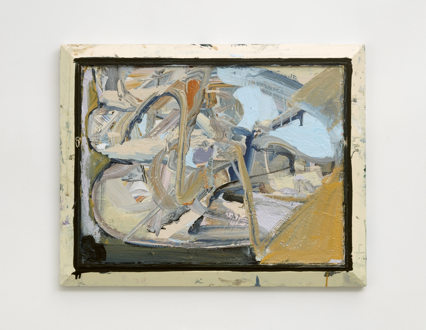 abstract painting in cream, pale blue, marigold and gray tones