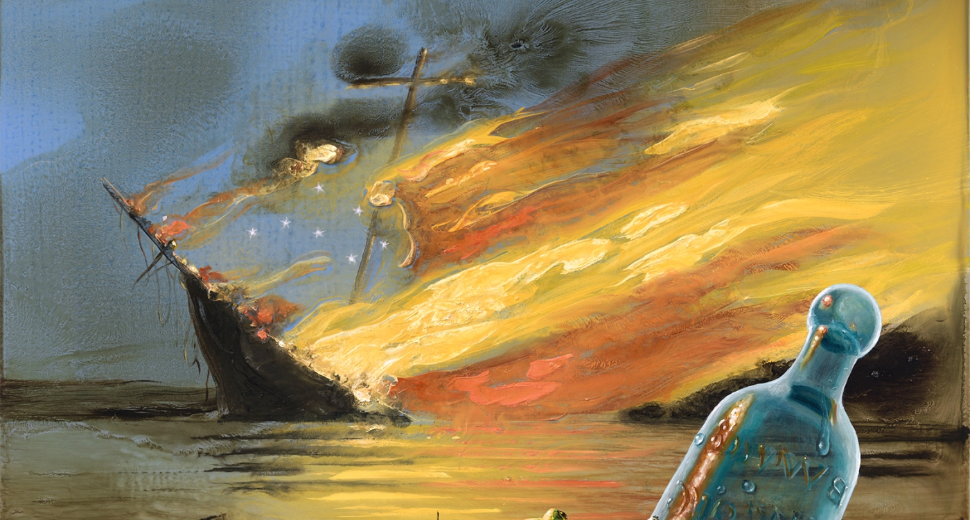 painting with a floating bottle and a frog in the foreground and a sinking ship on fire in the background