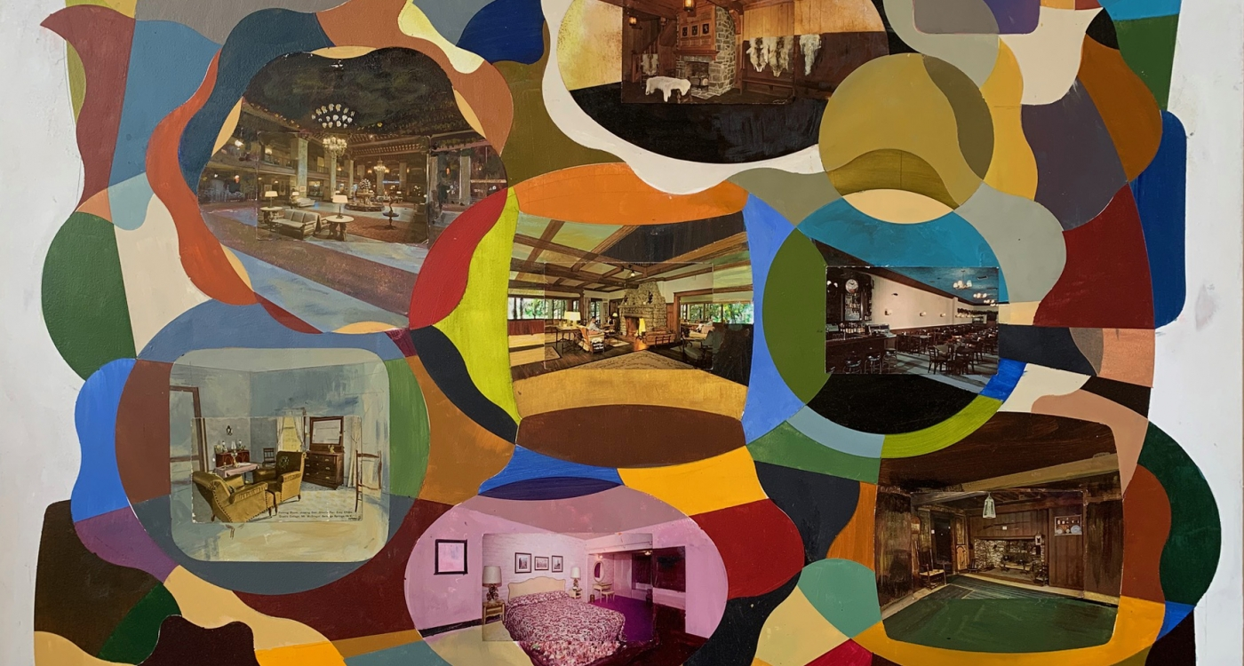 seven postcards of living rooms mounted on board with geometric shapes in oil paint