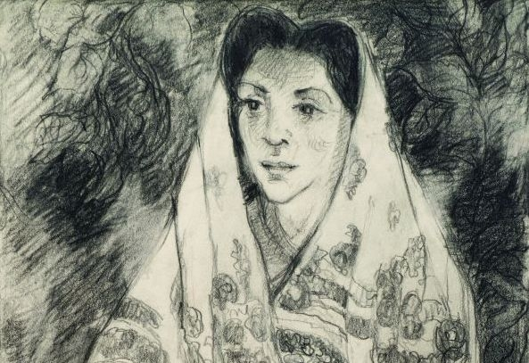 "2. Gene Kloss (1903–96) ""Corn Dance Maiden,"" d.1973, graphite on paper, 14 7/8 x 9 inches"
