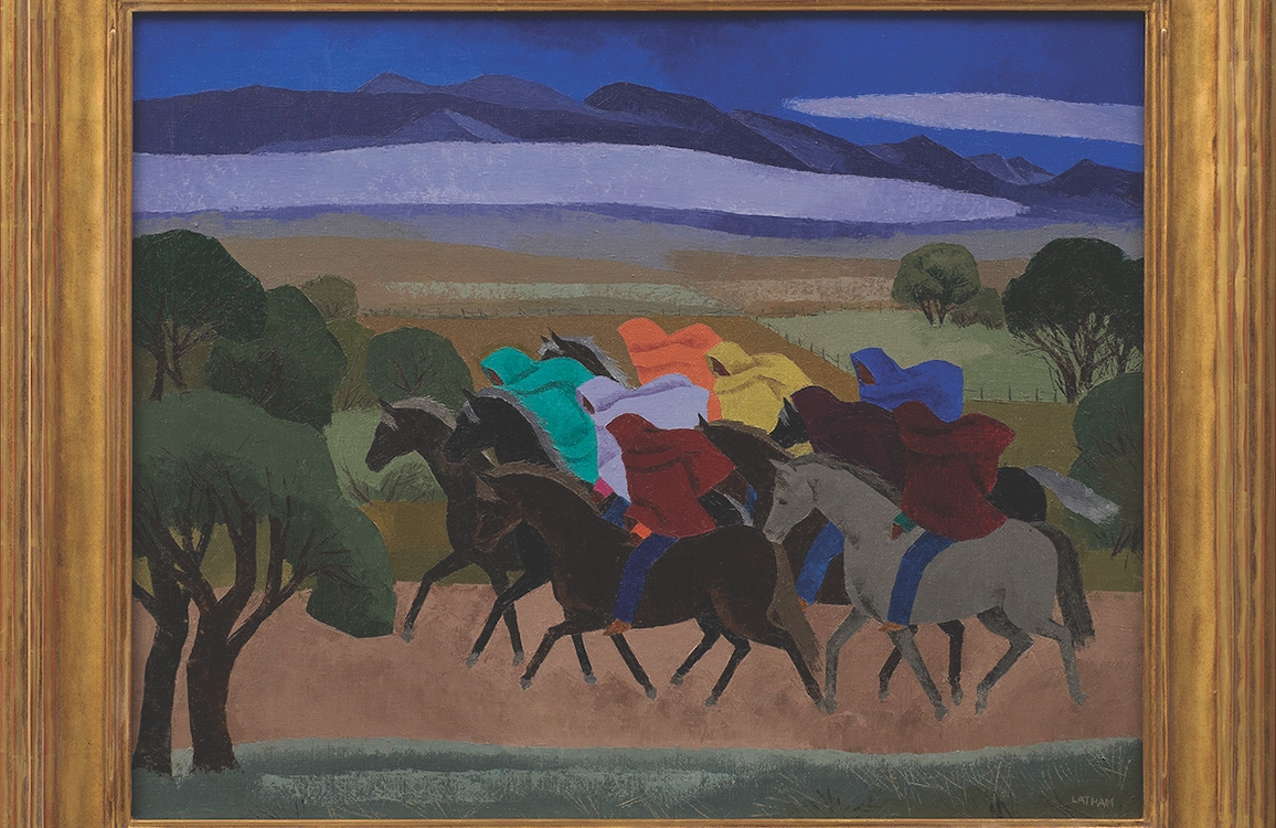 "20. Barbara Latham (1896–1989) ""Taos Indian Riders at Dusk,"" c. 1940, oil on canvas, 24 x 30 inches"