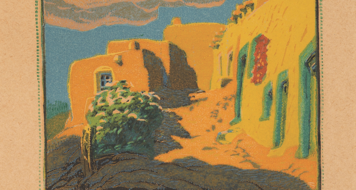 "5. Gustave Baumann (1881–1971) ""Old Santa Fe,"" color woodblock print, number 12 in an edition of 100, 6 3⁄4 x 7 5/8 inches"