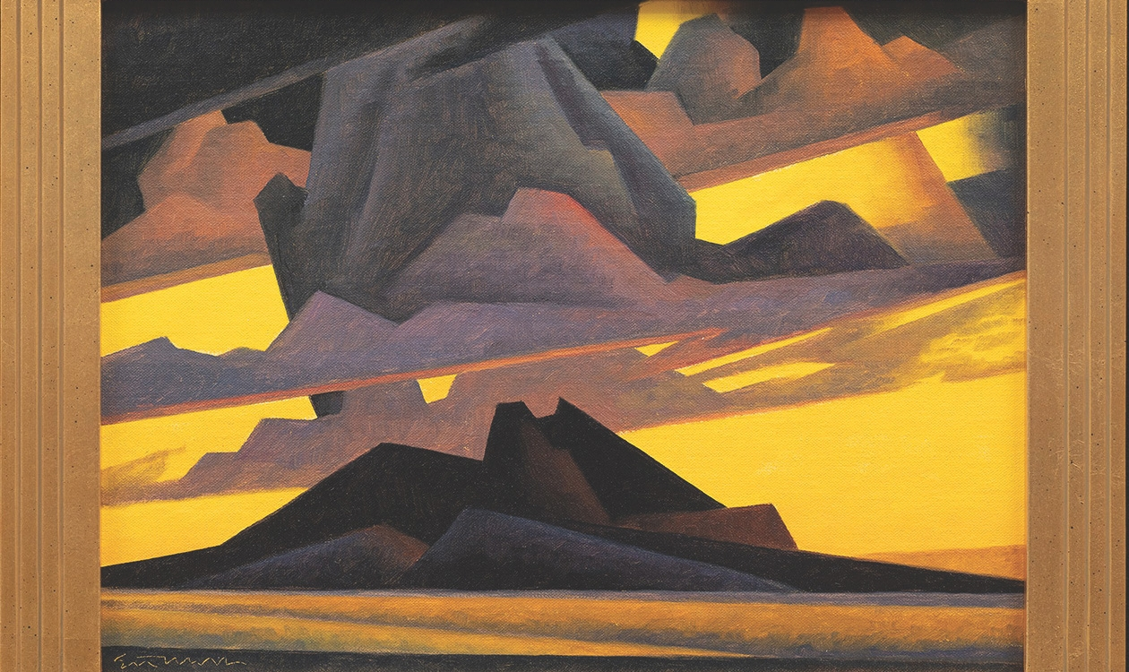 """13. Ed Mell (b.1942) """"Storm Arrival,"""" d.2020, oil on canvas panel, 12 x 16 inches"""