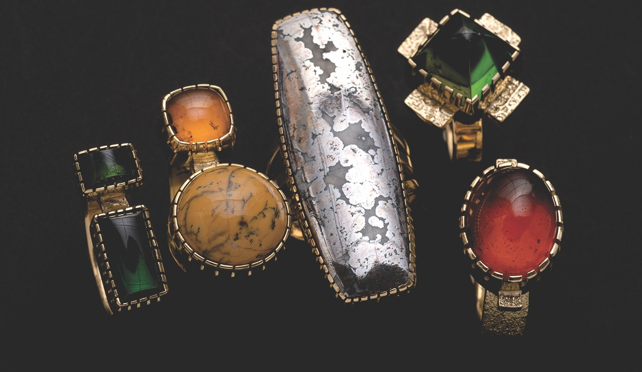 "24. Yazzie Johnson (b. 1946) and Gail Bird (b. 1949), ""Rings,"" 18kt gold with various precious stones, various sizes"